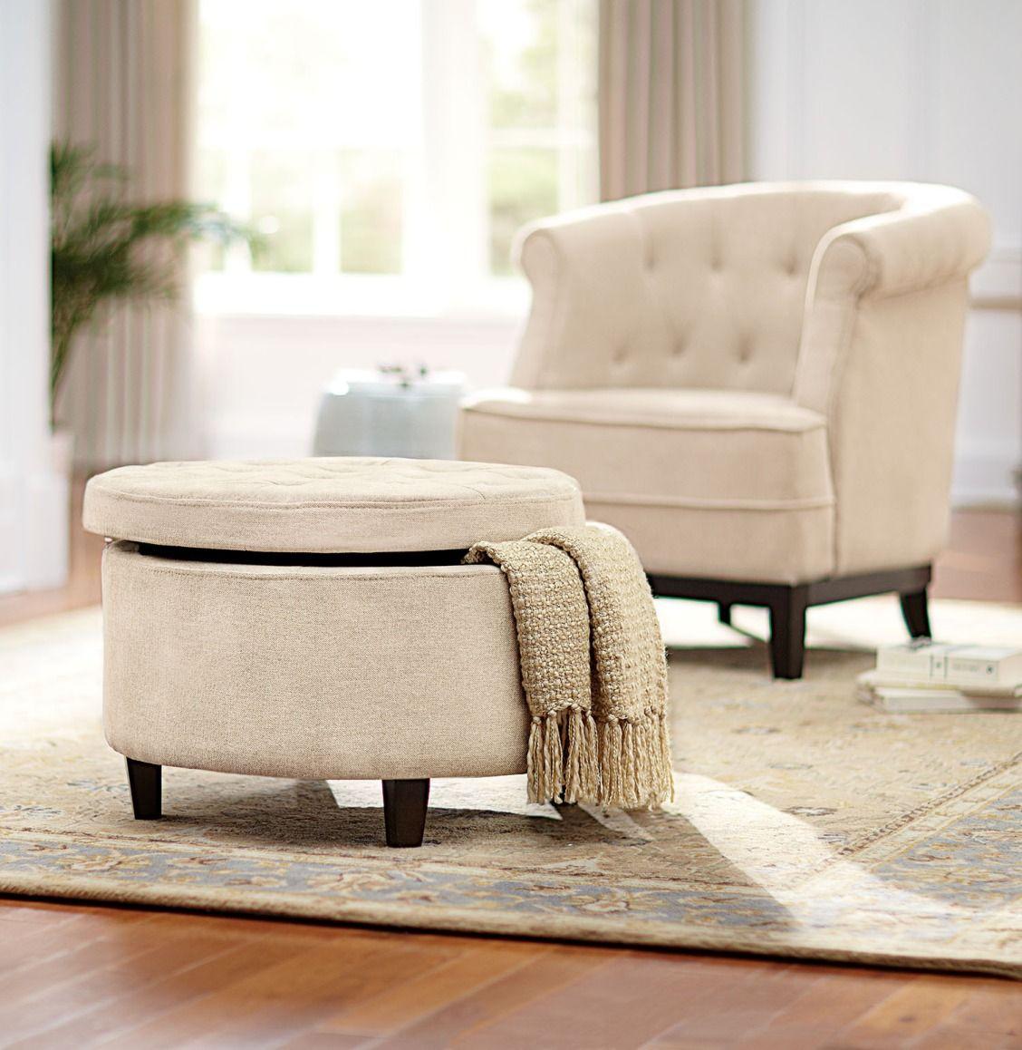 Home Decorators Collection Emma Textured Natural Storage Ottoman ...