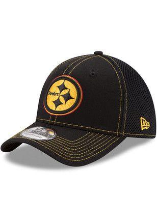 New Era Pittsburgh Steelers Mens Black Shock Stitch Neo Flex Hat ... e4c108bf9