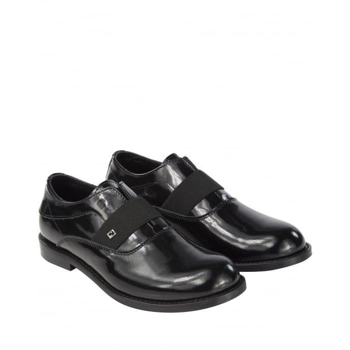 Fendi Boys Black Leather Slip-On Formal