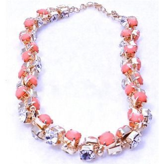 Dazzling Short Diamond Necklace - Coral
