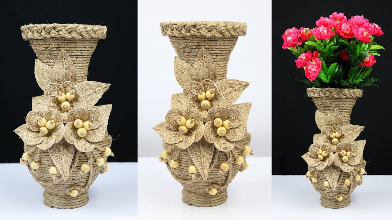 How To Make A Beautiful Flower Vase With Plastic Bottle And Jute