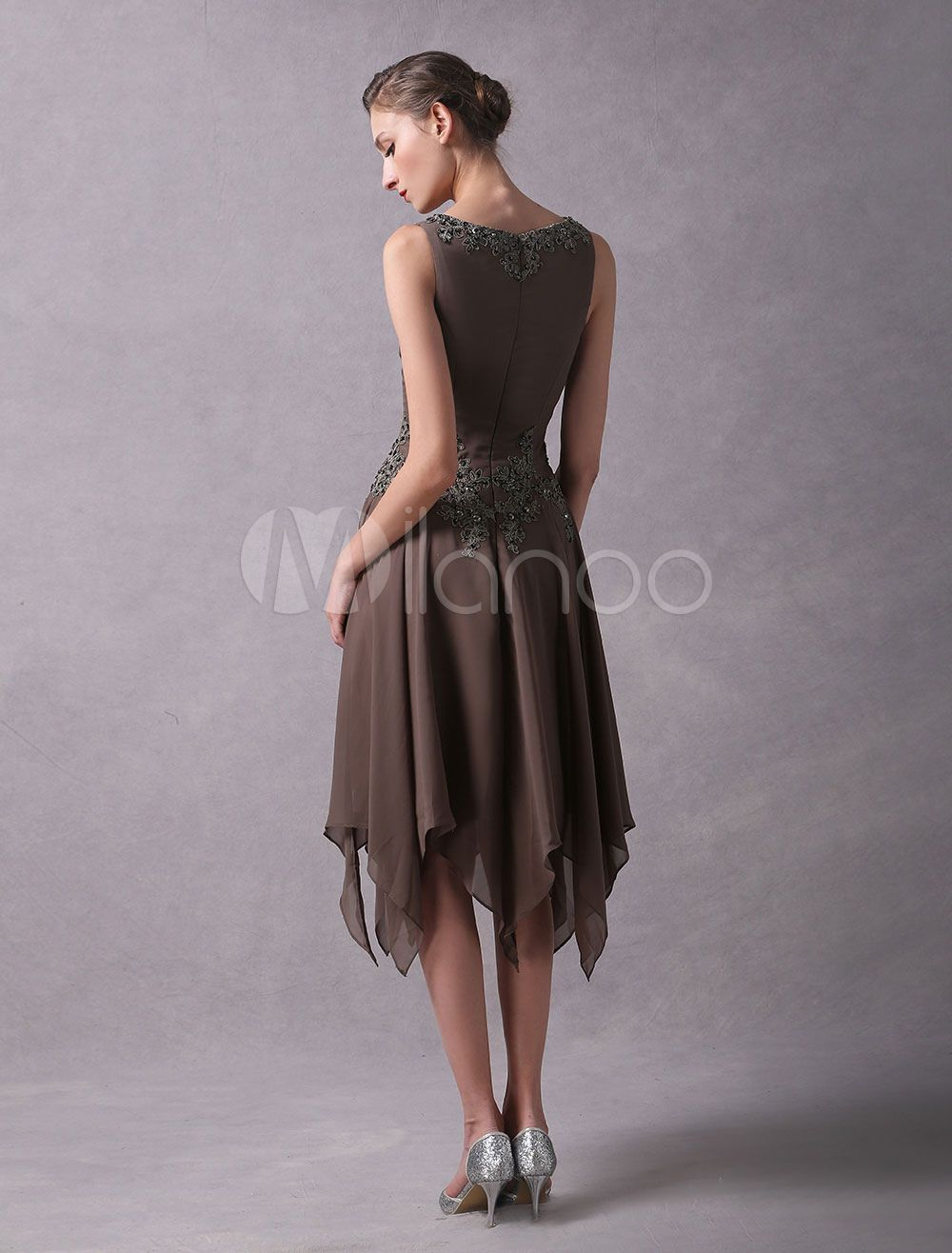 05f4a07dc38af Wedding Guest Dresses Lace Applique Chiffon Short Mother Dresses Beaded V  Neck Asymmetrical Wedding Party Dress With Jacket #Applique, #Chiffon, # Short