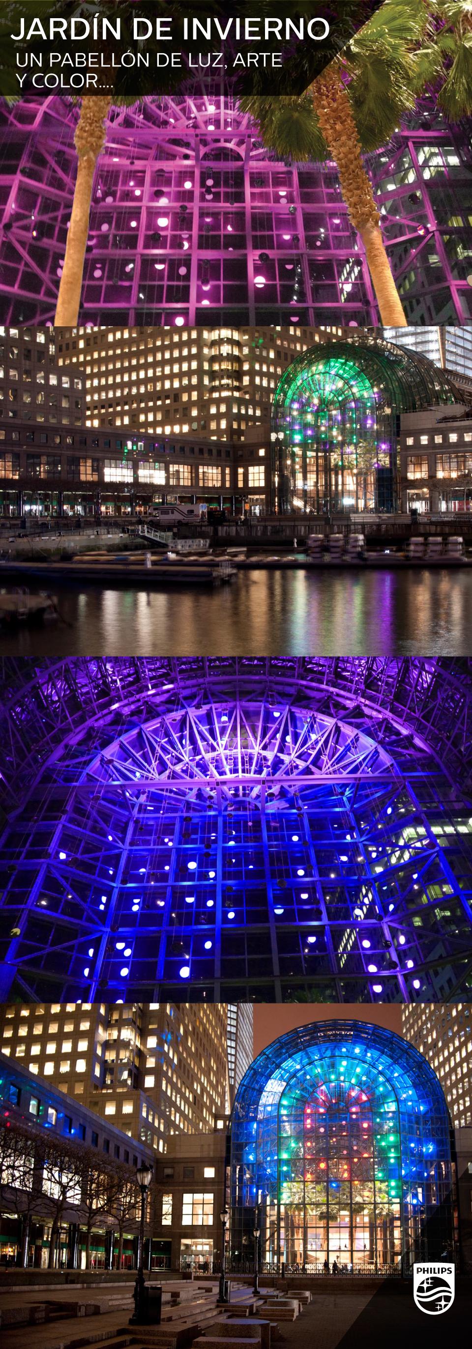 """Nueva York es una ciudad siempre sorprendente y llena de luces, una muestra de ello es el World Financial Center, donde podrás encontrar el asombroso pabellón """"Jardín de Invierno"""" con una bóveda de cristal que se ilumina en un asombroso performance de arte y luz."""