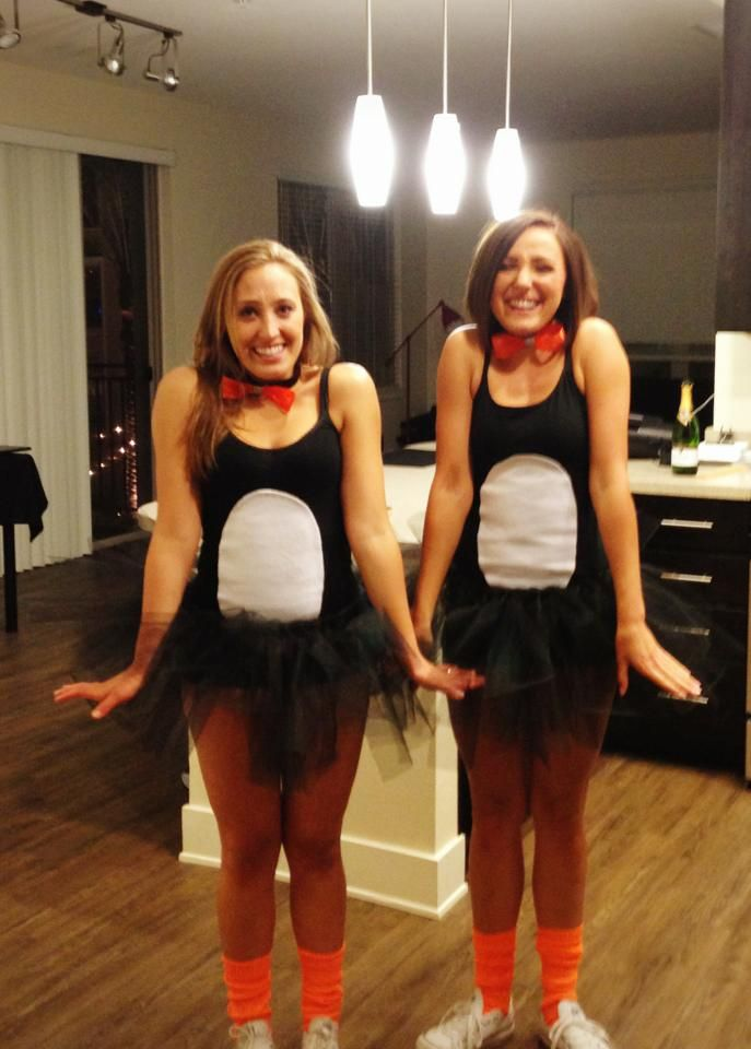 Diy Penguin Costume Orange Bowtie Black Cami With White