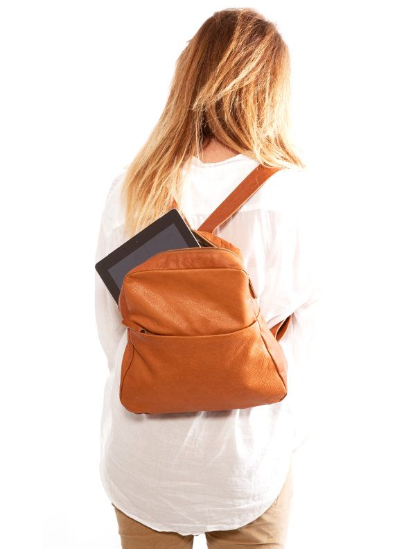 bb2da4896059 Brown Small leather Backpack purse Women leather Back pack Rucksack ...
