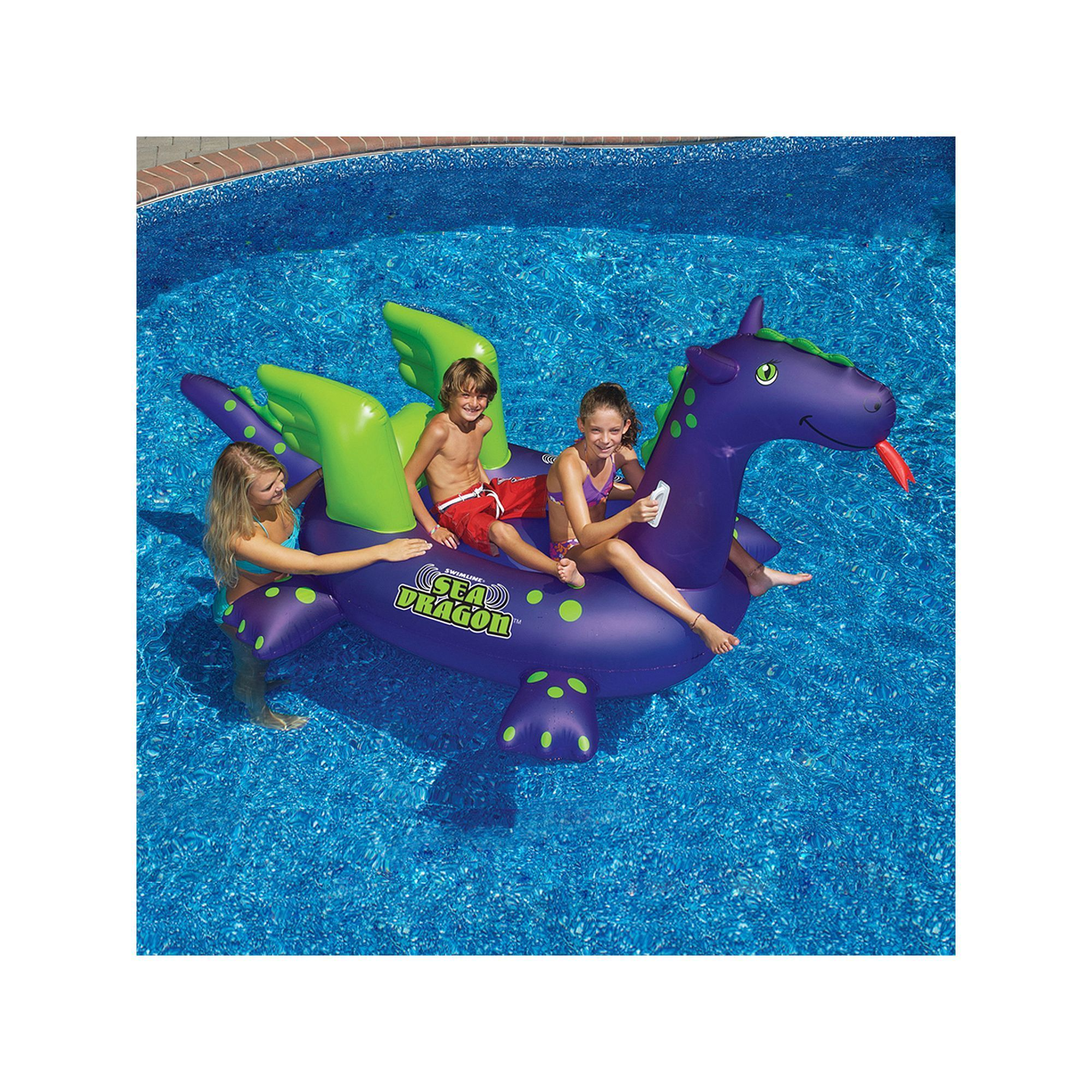 Swimline Giant Sea Dragon 9 ft Inflatable Ride Pool Toy