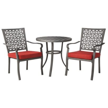 Threshold™ Hawthorne Metal Patio Bistro Furniture Set - Red This would look  so great on the front porch - Savor Your Last Few Bonfires Outside Before The Weather Gets Too