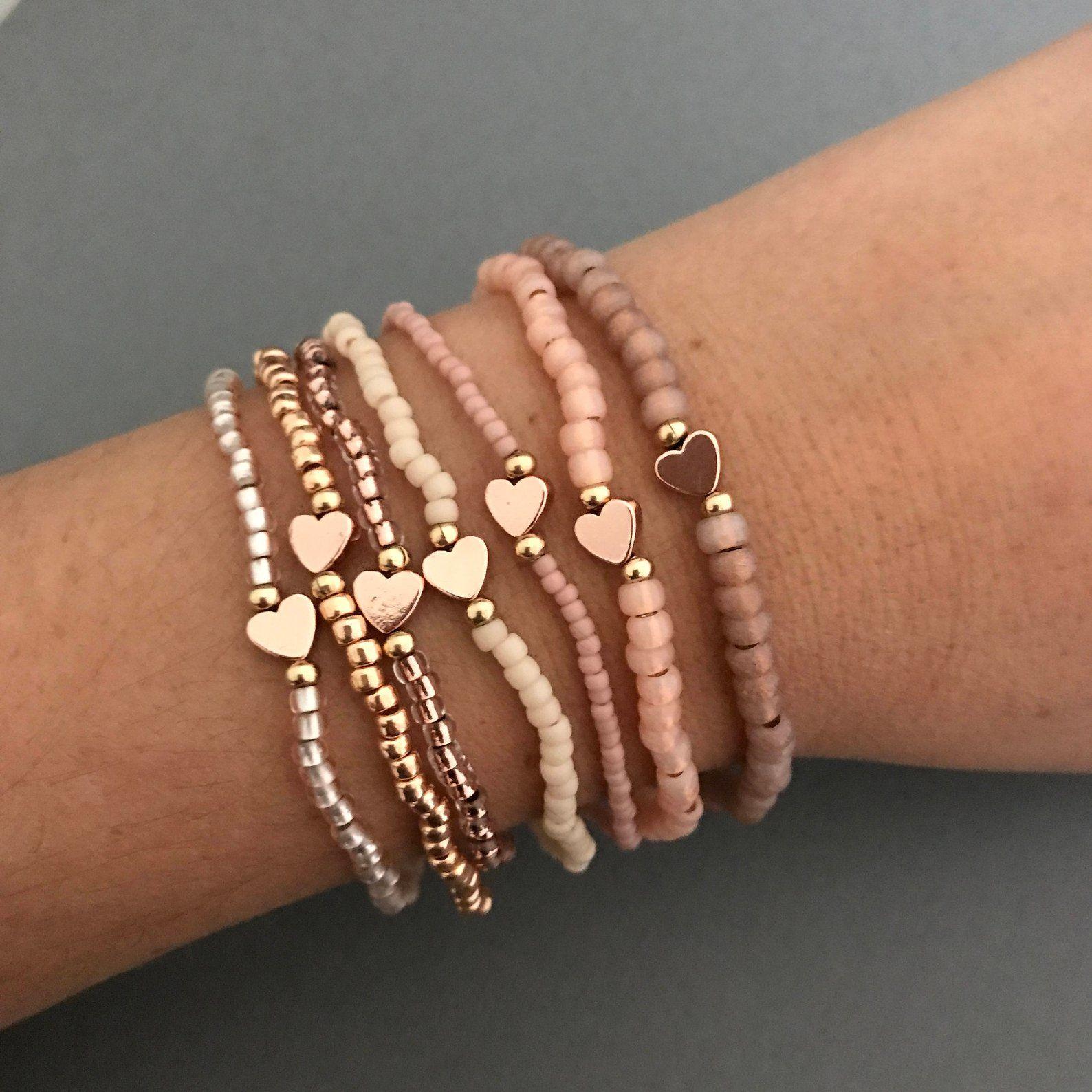 Blush Minimal Heart Bracelets – Best Friend Gift – 90s Friendship Bracelet – Seed Bead Stacking Bracelets – Blush Tiny Heart Bracelet Set