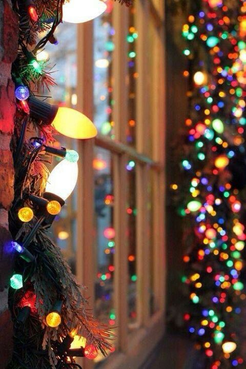 Colorful Christmas Lights Aesthetic.Outdoor Lights Mixing Large And Small Colored Bulbs