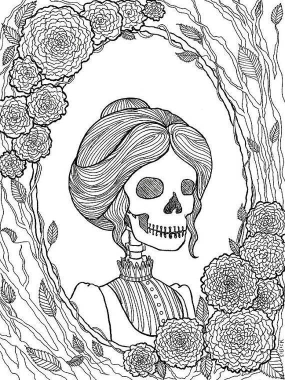 Pretty Dreadful coloring pages are adorned with the creepy and