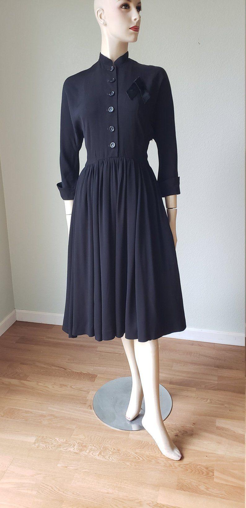 Late 40s Little Black Dress 40s Rayon Dress 1940s Dress Etsy Rayon Dress 1940s Dresses Dresses [ 1634 x 794 Pixel ]