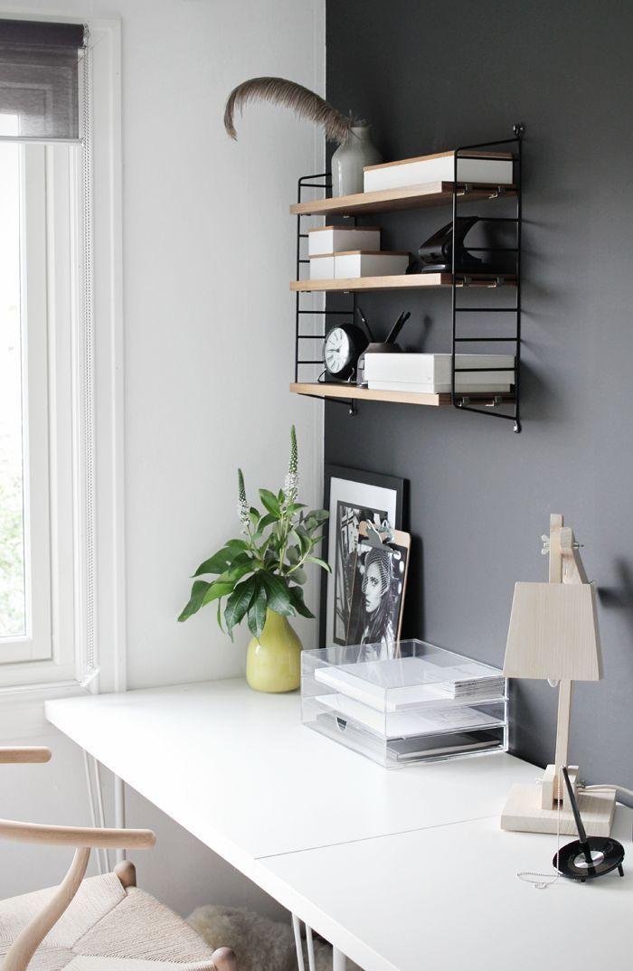 Charcoal Walls Home Office Decor White Interior Design Home Interior Design
