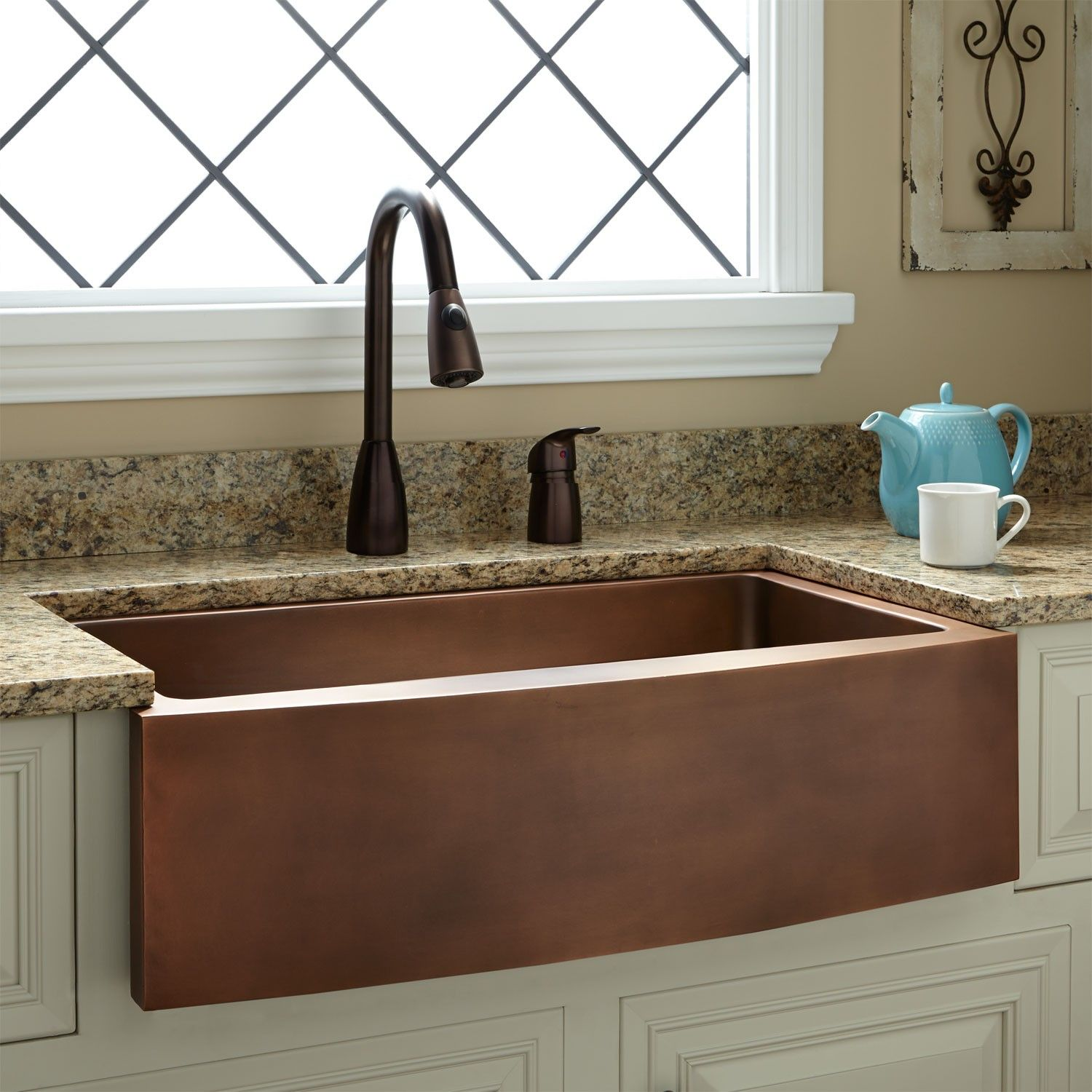 33 Kiana Curved Front Copper Farmhouse Sink Farmhouse Sinks