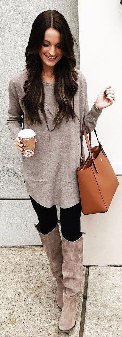 #winter #fashion /  Beige Knit Dress / Black Leggings / Beige Boots