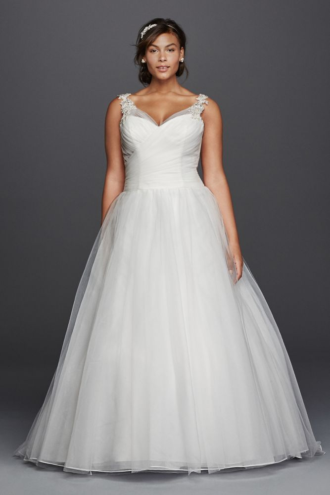 Tulle Plus Size Wedding Dress with Illusion Straps - White ...