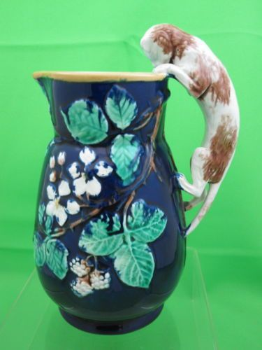 Details about Antique Majolica Pitcher with Climbing Cat Handle attr