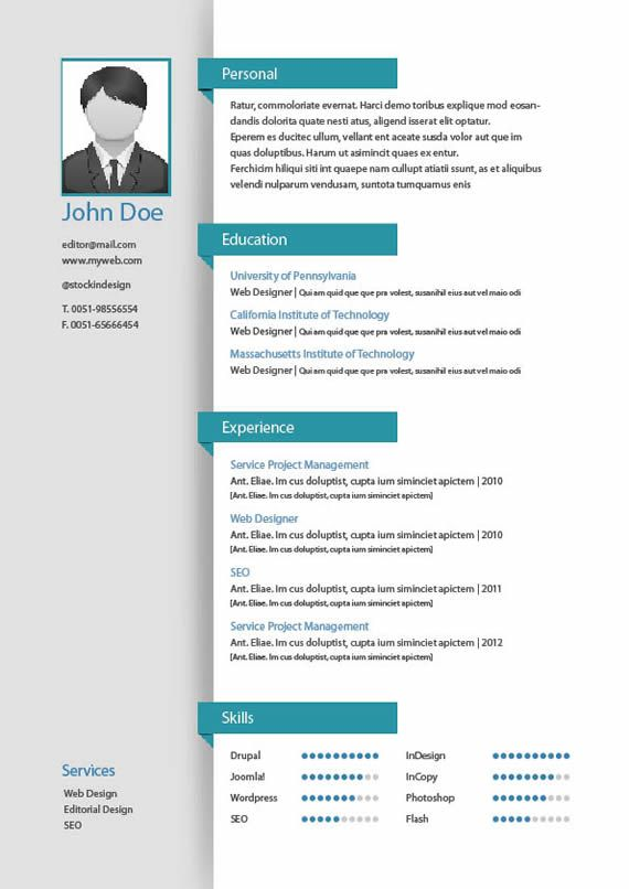 Template de Curriculums para imprimir en InDesign Puerto Pixel - resume templates indesign