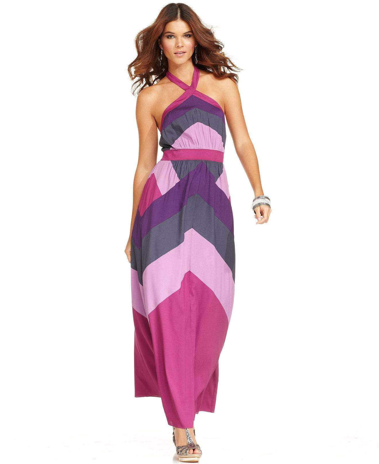 Jessica Simpson Dress, Sleeveless Chevron Colorblocked Halter Maxi ...