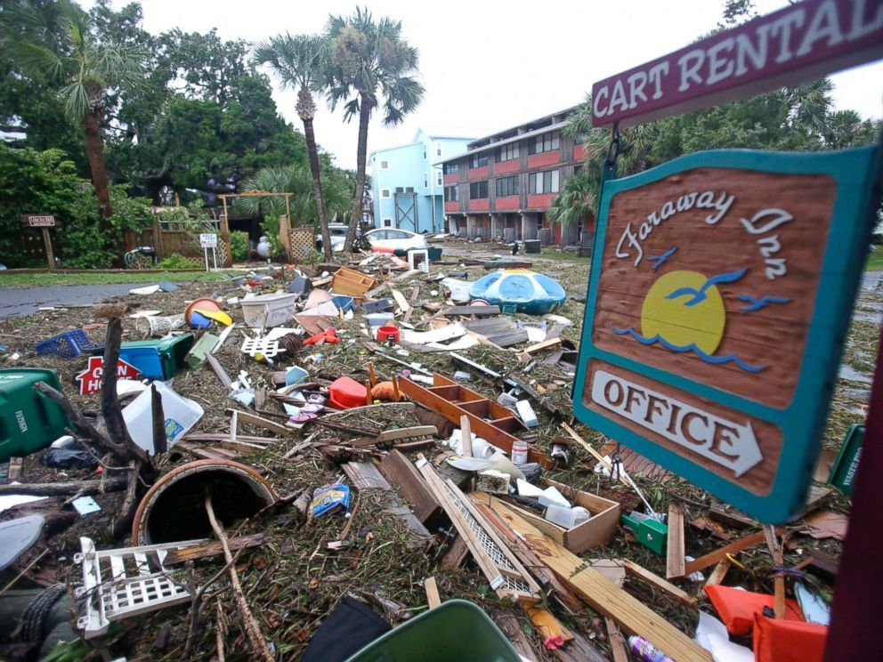 PHOTO: A street is blocked from debris washed up from the tidal surge of…