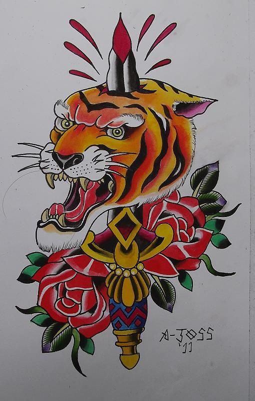 Traditional Tiger N Dagger Tattoo Design Best Pocket