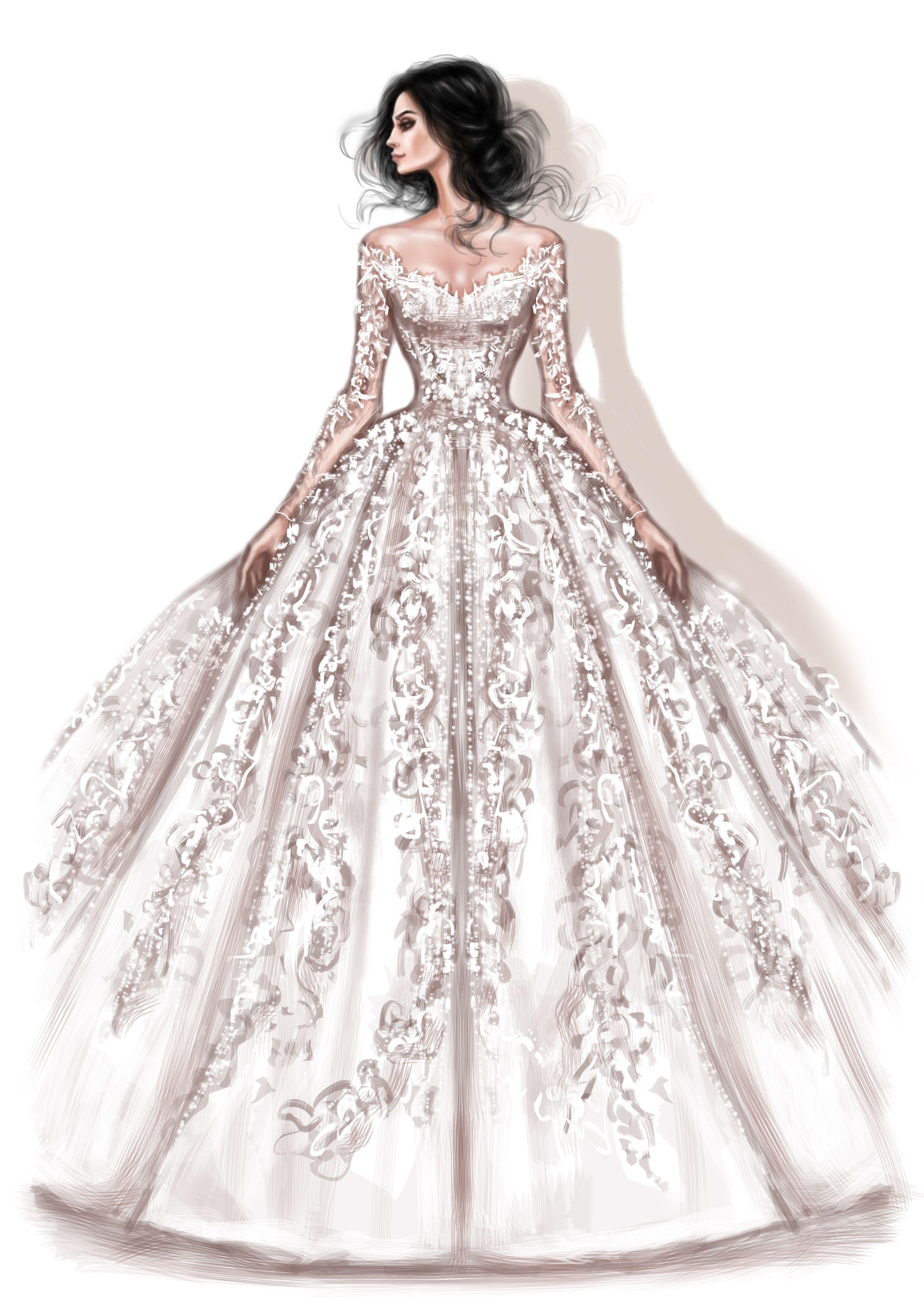 Beautiful Illustrations Of Rami Al Ali Bridal Collection Created By Shamekh Bluwi Il Fashion Illustration Dresses Dress Design Sketches Dress Design Drawing