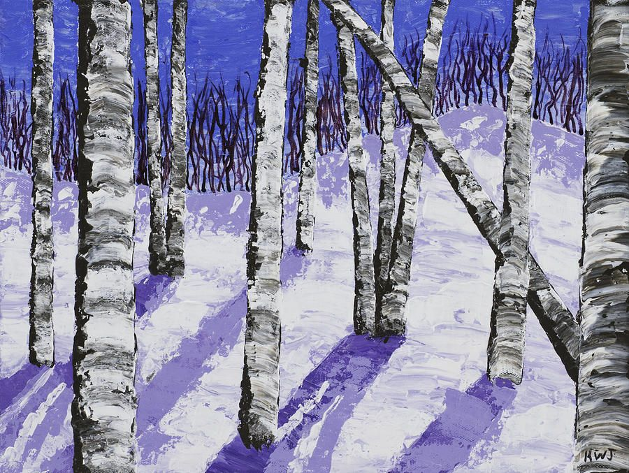 Painting Of White Birch Trees In Winter By Keith Webber Jr Winter Landscape Painting Winter Trees White Birch Trees