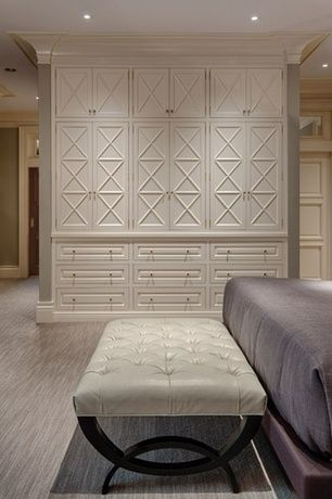 Traditional Master Bedroom With Carpet Transom Window Custom Closet Storage Royce Beige Faux Leather Tufted With Images Bedroom Built Ins Bedroom Design Build A Closet