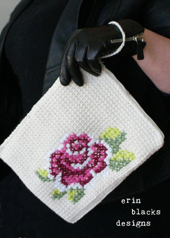 DIY Tunisian Crochet PATTERN - Cotton Rose Bloom Tablet Case (8.5\