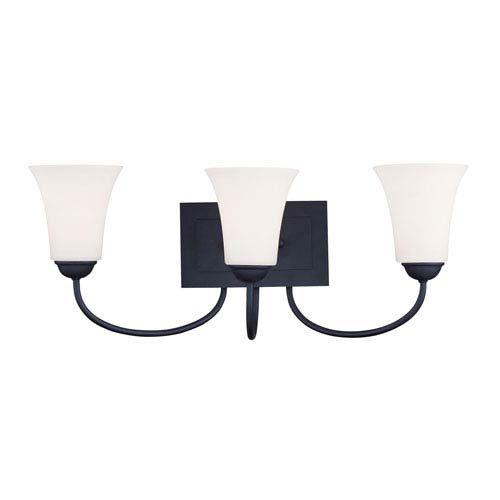 Photo of Livex Lighting 6483-04 Ridgedale three-light bathroom fitting in black bronze, transition | Bellacor