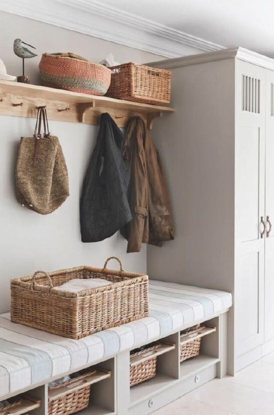 Pin By Lawless Design Hannah Oravec On Baskets Boot Room Hallway Storage Room Design