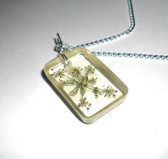 Queen Anne's Lace Flower Necklace Real flowers by GustavosGoods, $14.00