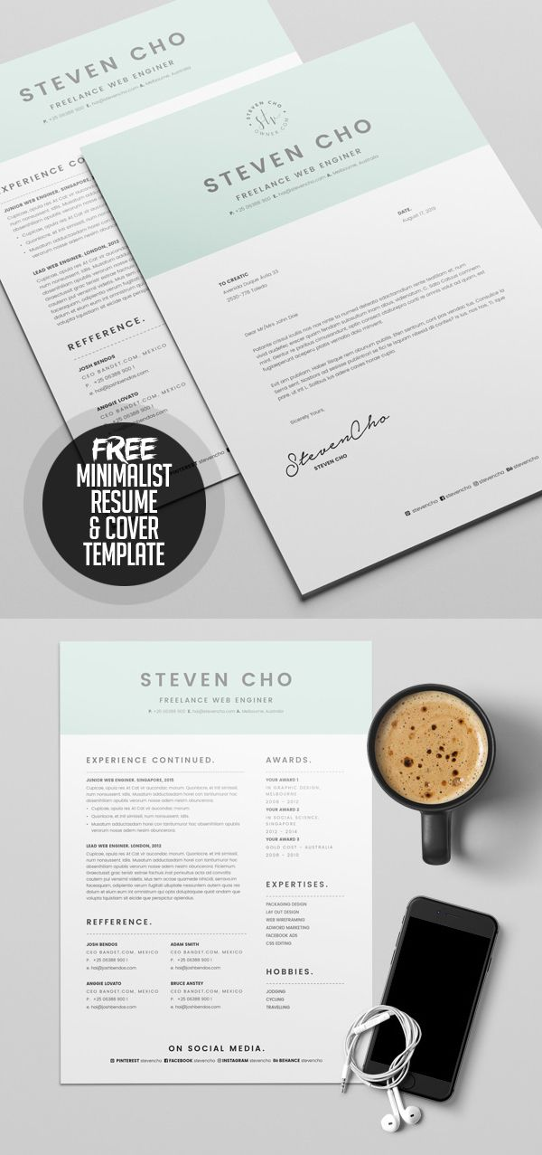Free Minimalist Resume Template and Cover Letter Print graphisme