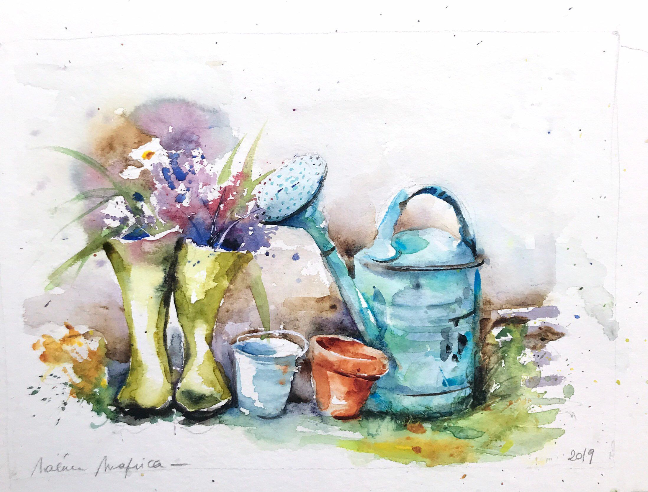 Aquarelle Peinture Originale Jardinage Fleurs Printemps