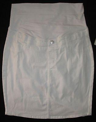 Maternity Casual White Knee Length Cotton Skirt Adjustable Waist Size 8 12 16 20