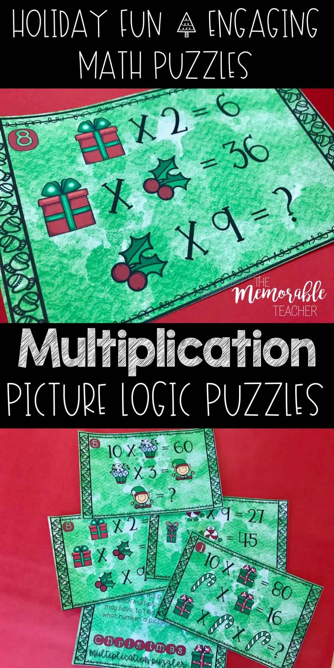Math Logic Puzzles Christmas Multiplication