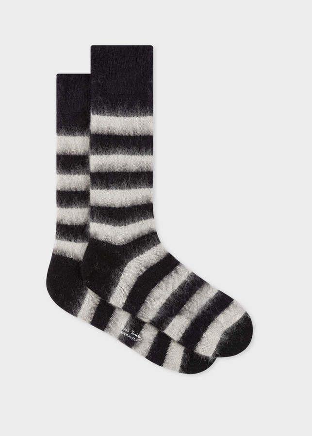 22191487452200 Paul Smith Men's Black And White Stripe Mohair-Blend Socks in 2019 ...