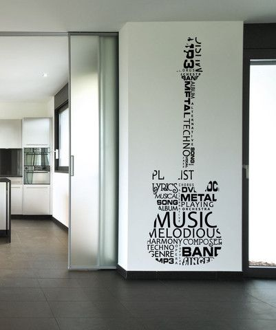 Vinyl Wall Decal Sticker Music Words Guitar 1162 Music Room Decor Music Bedroom Wall Stickers Cool