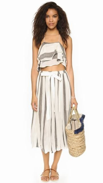 Ivory/Black Free People Lily Stripe Set