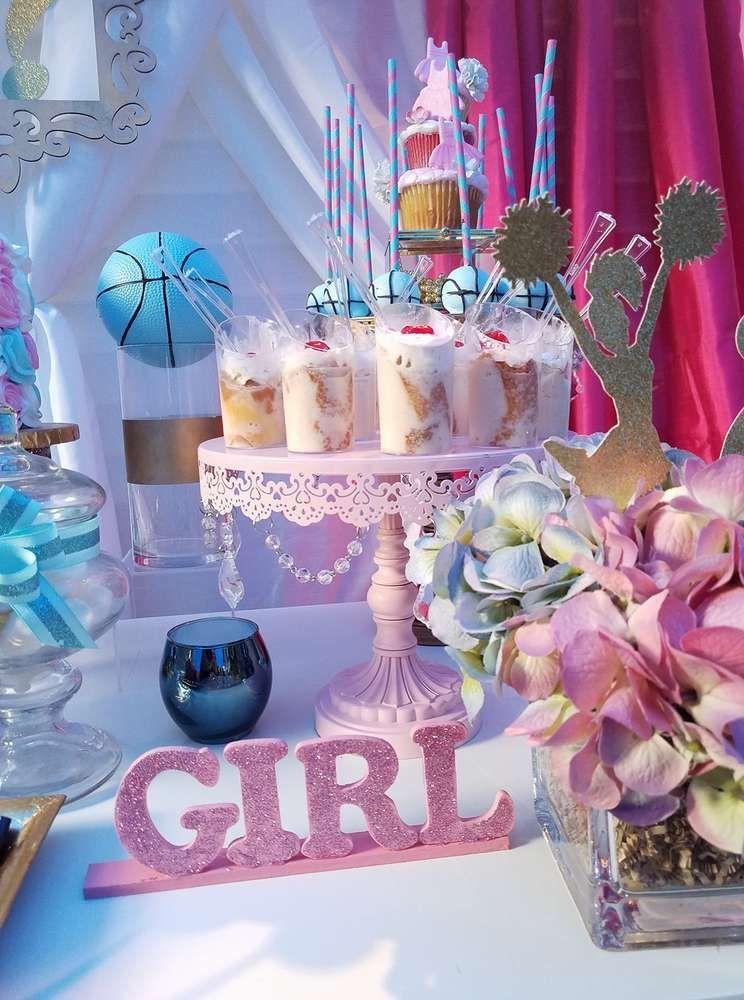 Basketball Or Cheerleader Gender Reveal Party Ideas Photo 2 Of 12 Gender Reveal Decorations Gender Reveal Party Decorations Baby Gender Reveal Party