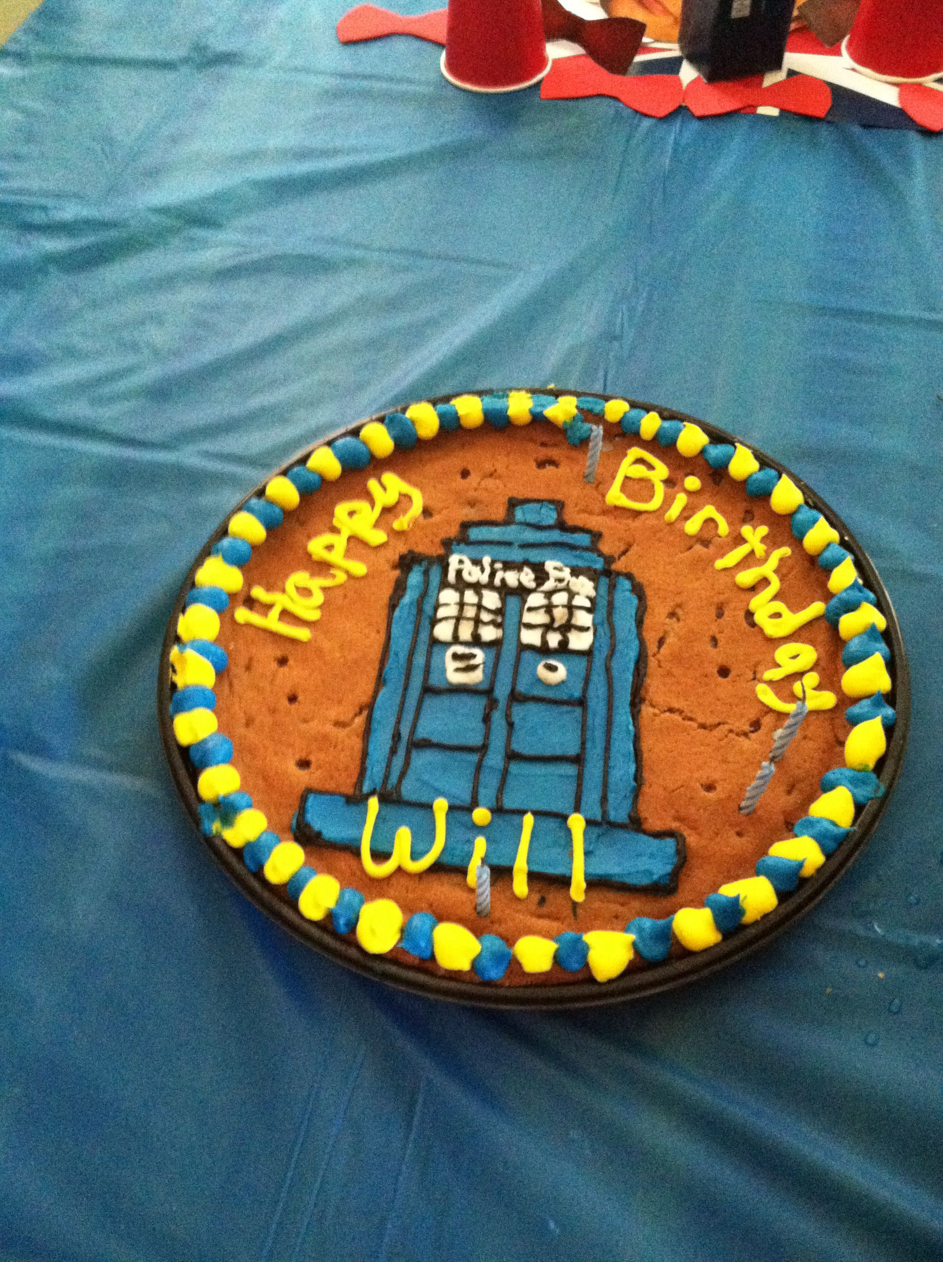 Tardis cookie cake from Winn Dixie1000 Dr Who birthday