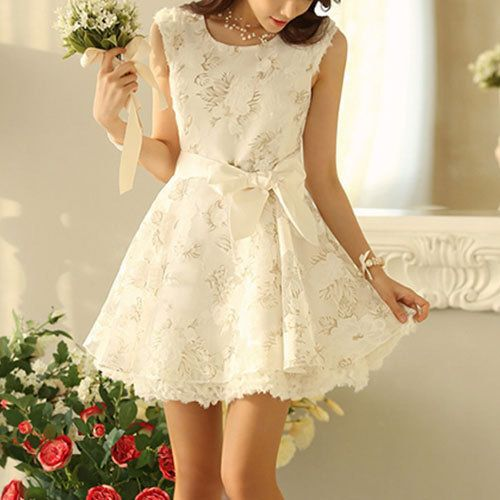 Flowers High Waist Bowknot Belted Bodycon White Tank Dress - InStores