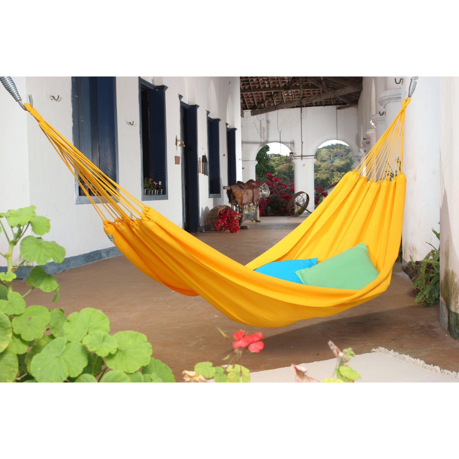 Small traditional hand woven brazilian solid colored hammock wish