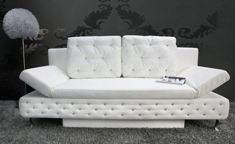 canap lit capitonn lady strass blanc inspirations. Black Bedroom Furniture Sets. Home Design Ideas