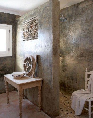 Beton Brut Chambre Cire Colore Decoratif Decoration Hydrofuge Materiau Salle De Bain Salon Salle De Bain En Beton Faux Murs Idee Salle De Bain