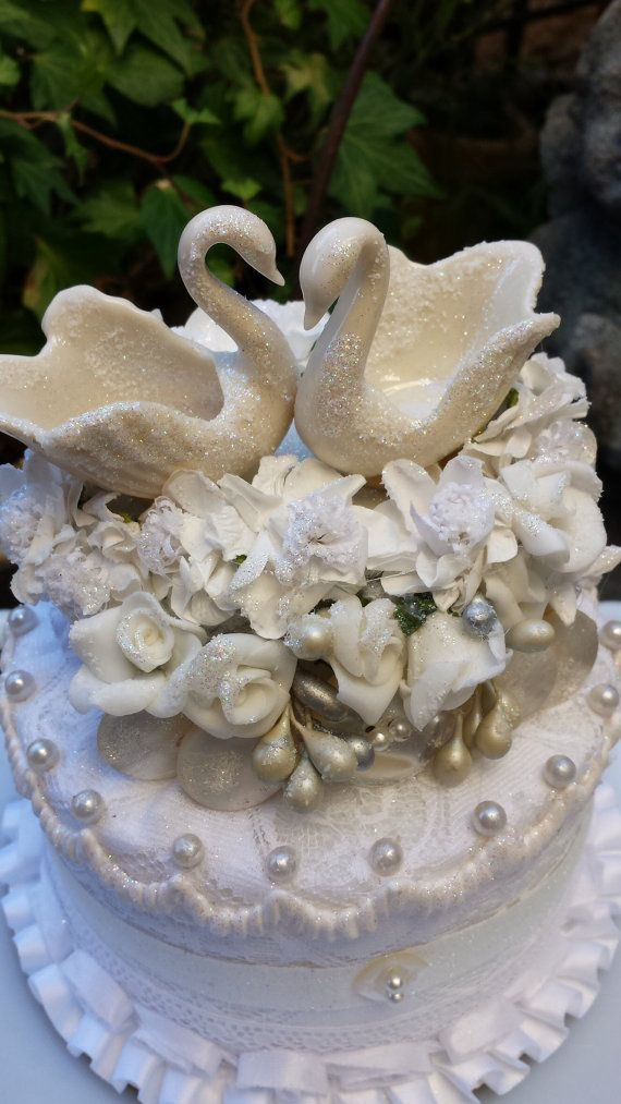 Wedding Cake Topper Lenox Swans By ChaChaBootsReDesign On Etsy