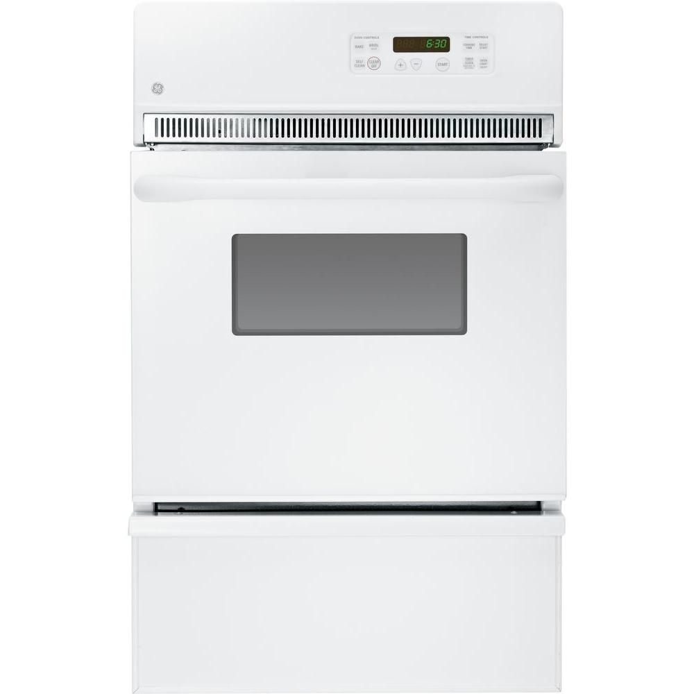 Ge 24 In Single Gas Wall Oven Self Cleaning In White Gas Wall