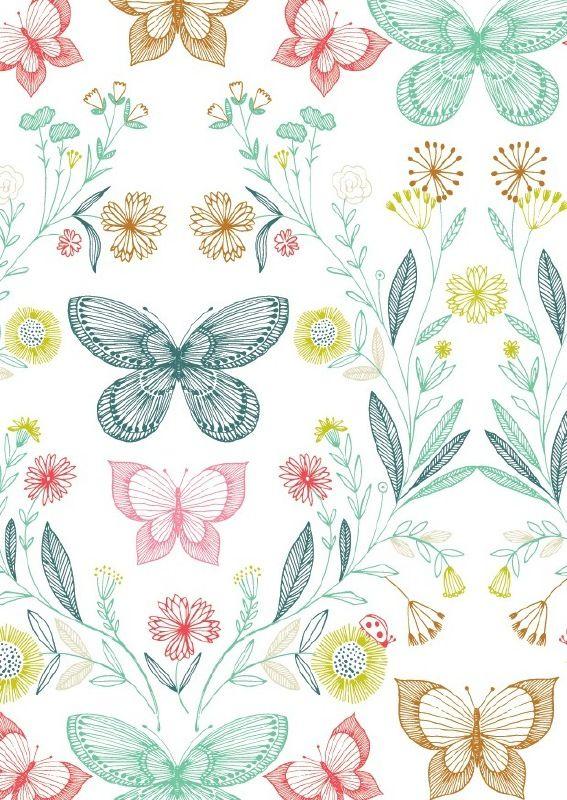 Bethan Janine 'Kaart Botanische Vlinders'