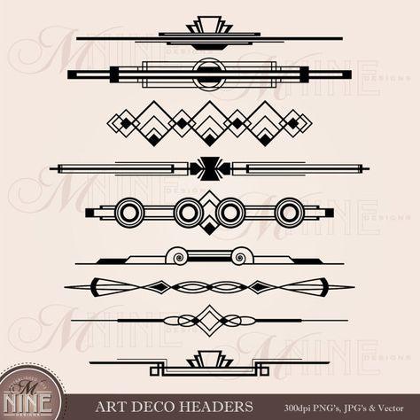 Art Deco Header Clip Art Header Accent Clipart Art Deco Etsy Art Deco Borders Art Deco Design Art Deco Tattoo