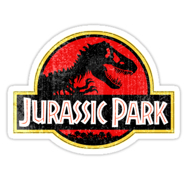 Jurassic park logo grunge stickers by wildodo redbubble