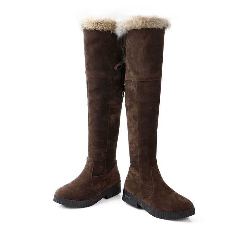 64.14$  Watch here - http://aliaio.worldwells.pw/go.php?t=32439455583 - Fashion New Suede Round Toe Yellow Black Brown Side Zippers Chunky Heels Jackboot Rabbit Fur Brank Design Over the Knee Boots 64.14$